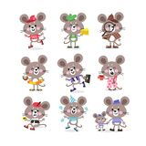 Cute mouse set on vacation running for business with cheese and doing sports vector illustration