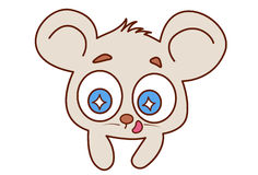 Cute mouse with shining eyes and tongue stuck out. Royalty Free Stock Photo