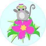 Cute Mouse with Spinner Hat on Hibiscus Flower Royalty Free Stock Photo
