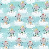 Cute mouse taking a bath seamless pattern Stock Photo