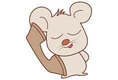 Cute mouse talking on the telephone. Stock Photography