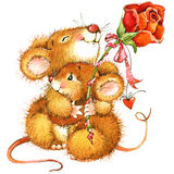 Cute Mouse With Rose. Watercolor Illustration Stock Photography