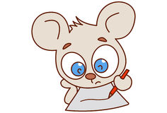 Cute mouse writing on paper. Stock Image