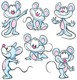 Cute mouses. Cute blue mouses on white background Stock Photos