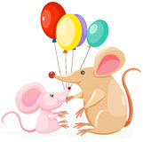 Cute mouses with balloon Stock Photos
