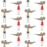 Cute mouses in clothes seamless pattern on white background. Stock Photography