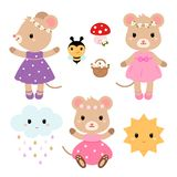 Cute mouses and design elements. Vector flat illustration. Cute mouses and design elements. Vector flat illustration isolated on white background Royalty Free Stock Photo