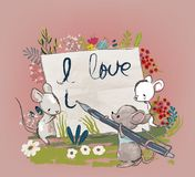 Cute mouses with letter stock illustration