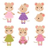 Cute mouses. Vector flat illustration. Cute mouses. Vector flat illustration isolated on white background Royalty Free Stock Images