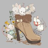 Cute mouses in boot stock photography
