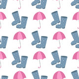 Cute multi colored umbrella rubber boots in flat design style and autumn accessory concept fashion sign vector. Illustration. Colorful comfort outdoor element Royalty Free Stock Photography