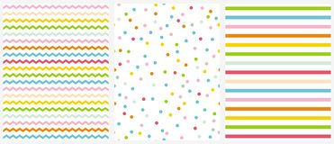 Cute Multicolor Geometric Seamless Vector Patterns. Pink, Blue, Yellow and Green Polka Dots, Tiny Chevron and Vertical Stripes. Pink, Blue, Yellow and Green royalty free illustration