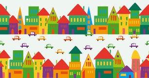 Cute multicolored city pattern stock illustration