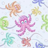Cute octopus pattern. Cute multicolored octopus pattern on blue background Stock Photos