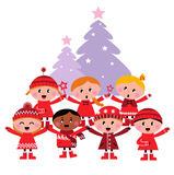 Cute multicultural caroling Children Stock Photo
