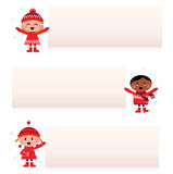 Cute multicultural children with blank banners. Christmas multicultural kids banner collection. Vector cartoon Stock Images
