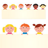 Cute multicultural kids with banner. Six multicultural children with blank banner. Vector Illustration Stock Photo