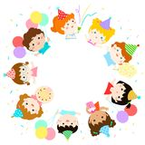 Cute multicultural kids party template vector Stock Photos