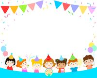 Cute multicultural kids party template vector Royalty Free Stock Photos