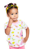 Cute multiracial small girl isolated on white Stock Photo