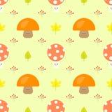 Cute Mushroom Cartoon Seamless Vector Pattern Stock Images