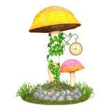 Cute mushroom clock tower Royalty Free Stock Photo