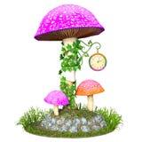 Cute mushroom clock tower Royalty Free Stock Photography