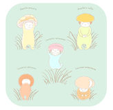 Cute mushroom pattern. Hand drawn vector illustration of cute mushrooms with Latin names: fly amanita, red capped scaber stalk, honey fungus, woolly milk cap Royalty Free Stock Photo