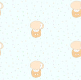 Cute mushroom pattern. Seamless pattern of cute hand drawn mushroom red capped scaber stalk in a jumpsuit on a green background with colourful circles. Design stock illustration
