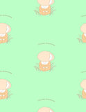 Cute mushroom pattern. Seamless pattern of cute hand drawn mushroom red capped scaber stalk in a jumpsuit with Latin name in the grass on green background Stock Photography