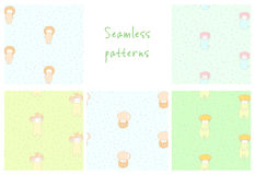 Cute mushroom patterns. Set of hand drawn cute seamless vector patterns with mushrooms: fly amanita, red capped scaber stalk, honey fungus, woolly milk cap Royalty Free Stock Image