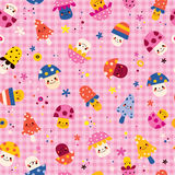 Cute mushrooms characters nature pink seamless pattern Royalty Free Stock Image