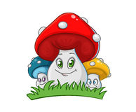 Cute mushrooms family Stock Photography