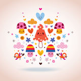 Cute mushrooms, flowers, hearts & birds illustration Stock Photo