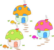 Cute mushrooms home. A children art drawing for cute mushrooms home Royalty Free Stock Photo