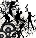 Conceptual music background with jumping silhouettes and notes Stock Images
