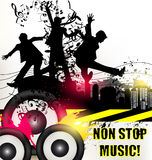 Grunge music banner for disco  with ink spots, happy people silh Royalty Free Stock Image