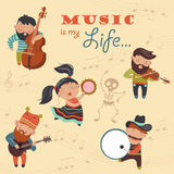 Cute musicians and dancer Royalty Free Stock Image