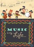 Cute musicians and dancer Stock Photos