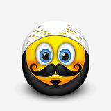 Cute muslim emoticon, emoji with mustache and beard - vector illustration Stock Photo