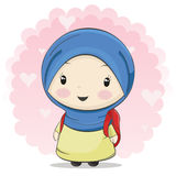 A Cute Muslim Girl Cartoon Carrying Bag for School