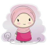 A Cute Muslim Girl Cartoon illustration