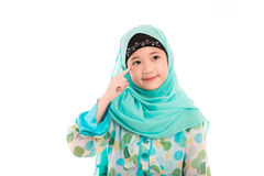 Cute muslim girl. Close up of cute muslim girl on white background isolated Stock Photos