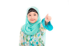 Cute muslim girl. Close up of cute muslim girl on white background isolated Royalty Free Stock Photos