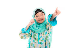 Cute muslim girl. Close up of cute muslim girl on white background isolated Stock Images