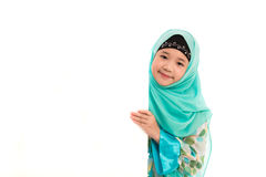 Cute muslim girl. Close up of cute muslim girl on white background isolated Royalty Free Stock Images