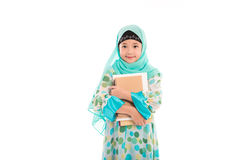 Cute muslim girl. Close up of cute muslim girl on white background isolated Stock Photography