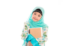 Cute muslim girl. Close up of cute muslim girl on white background isolated Stock Photo