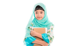 Cute muslim girl. Close up of cute muslim girl on white background isolated Stock Image