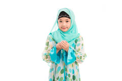 Cute muslim girl. Close up of cute muslim girl on white background isolated Royalty Free Stock Photography